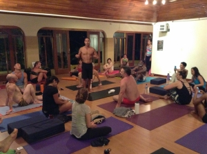 Our ripped instructor talking to us about inversions during an evening workshop